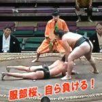 """序ノ口力士の服部桜が戦意喪失し自ら負ける""""敗退行為""""で3度の取り直し"""