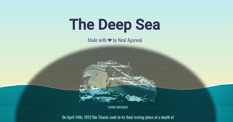 海の深さをスクロールで疑似体験