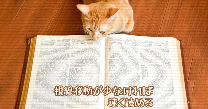 視線移動を少なくすれば高速に文章を読める